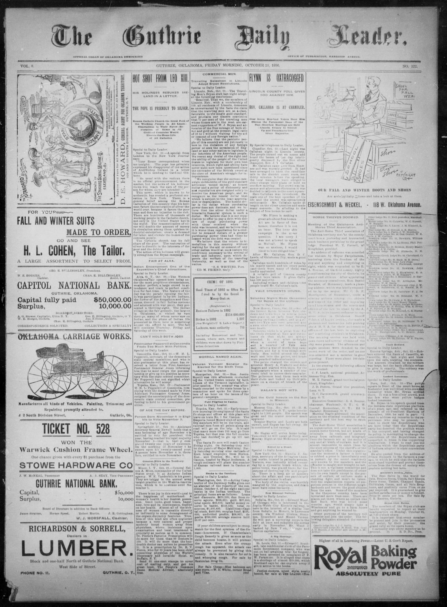 The Guthrie Daily Leader. (Guthrie, Okla.), Vol. 8, No. 122, Ed. 1, Friday, October 23, 1896                                                                                                      [Sequence #]: 1 of 4