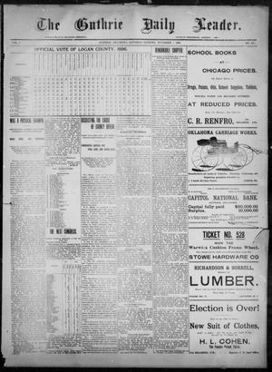 Primary view of object titled 'The Guthrie Daily Leader. (Guthrie, Okla.), Vol. 8, No. 135, Ed. 1, Saturday, November 7, 1896'.