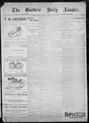 Primary view of object titled 'The Guthrie Daily Leader. (Guthrie, Okla.), Vol. 9, No. 42, Ed. 1, Wednesday, January 20, 1897'.