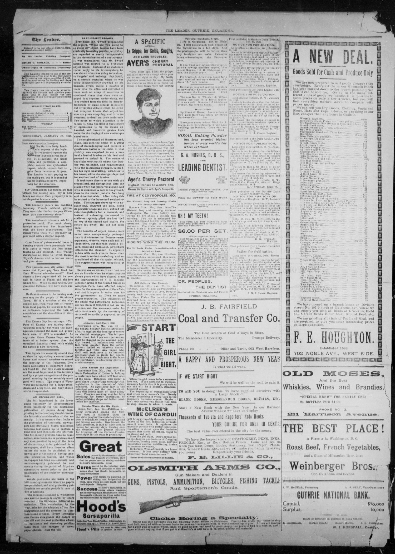 The Guthrie Daily Leader. (Guthrie, Okla.), Vol. 9, No. 48, Ed. 1, Wednesday, January 27, 1897                                                                                                      [Sequence #]: 2 of 4