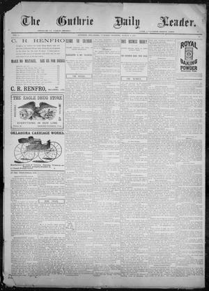 Primary view of object titled 'The Guthrie Daily Leader. (Guthrie, Okla.), Vol. 9, No. 82, Ed. 1, Tuesday, March 9, 1897'.