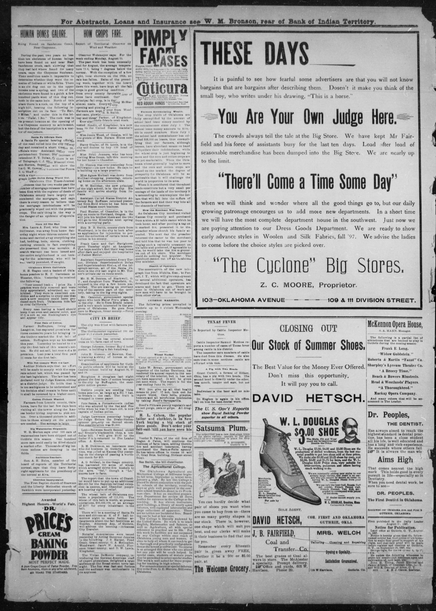 The Guthrie Daily Leader. (Guthrie, Okla.), Vol. 10, No. 74, Ed. 1, Thursday, August 26, 1897                                                                                                      [Sequence #]: 4 of 4