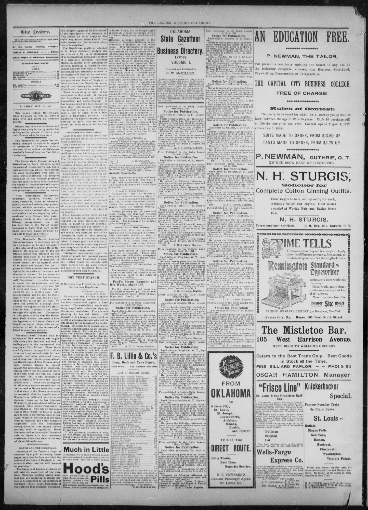 The Guthrie Daily Leader. (Guthrie, Okla.), Vol. 10, No. 108, Ed. 1, Tuesday, October 5, 1897                                                                                                      [Sequence #]: 2 of 4