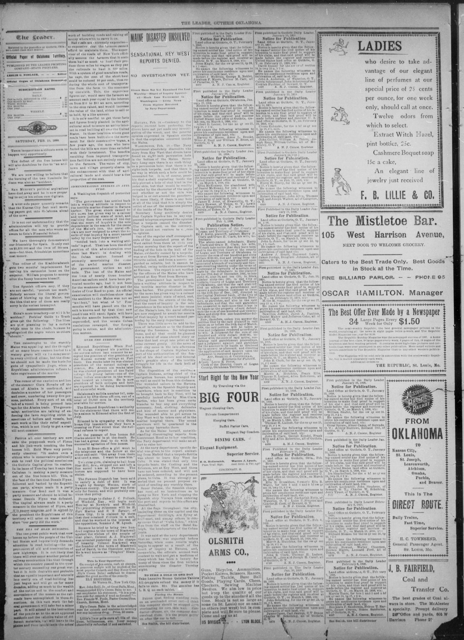 The Guthrie Daily Leader. (Guthrie, Okla.), Vol. 11, No. 69, Ed. 1, Saturday, February 19, 1898                                                                                                      [Sequence #]: 2 of 4