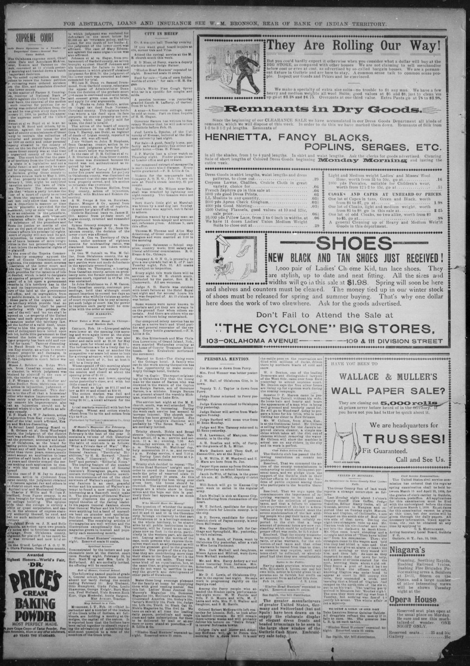 The Guthrie Daily Leader. (Guthrie, Okla.), Vol. 11, No. 69, Ed. 1, Saturday, February 19, 1898                                                                                                      [Sequence #]: 4 of 4