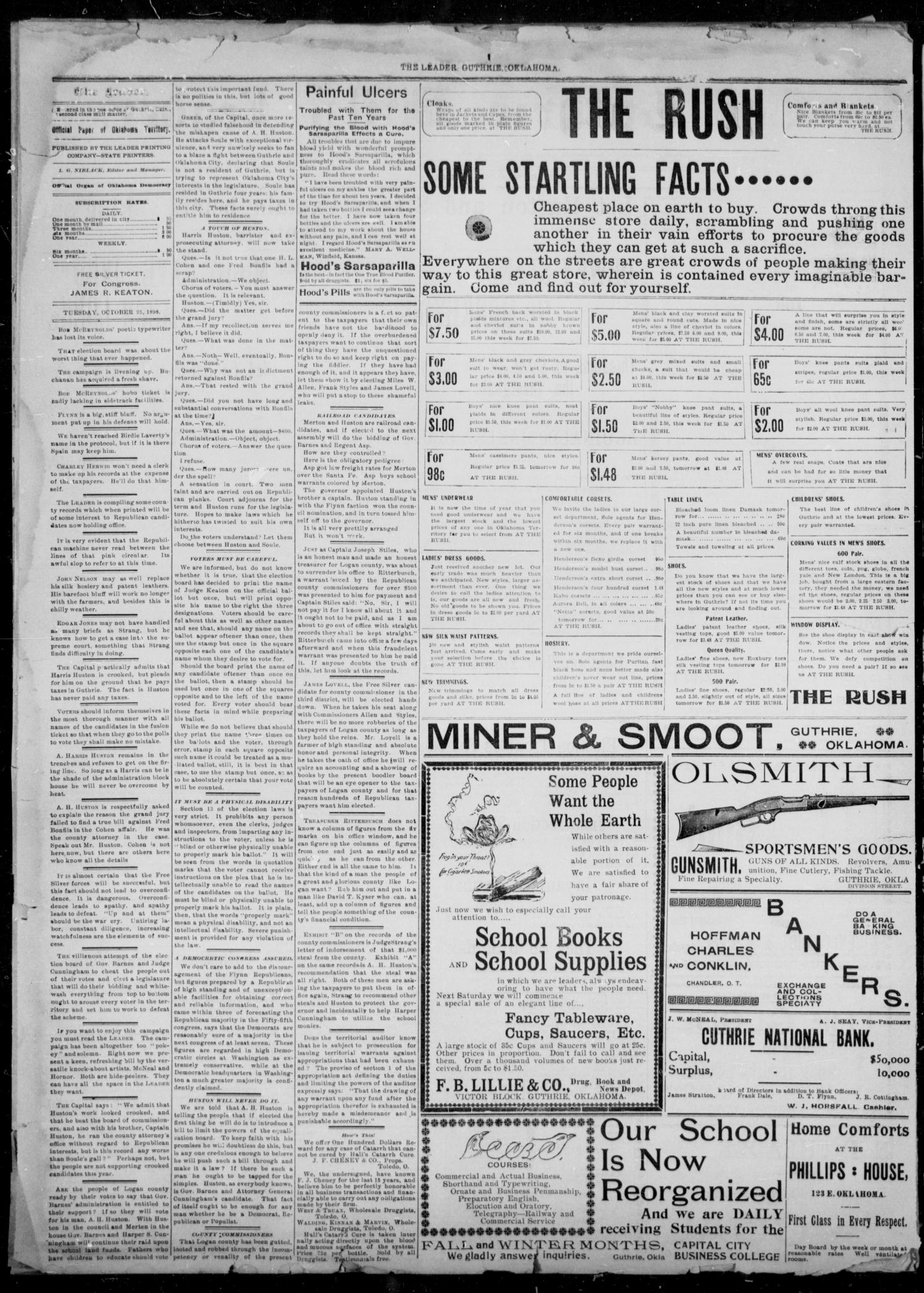 The Guthrie Daily Leader. (Guthrie, Okla.), Vol. 12, No. 125, Ed. 1, Tuesday, October 25, 1898                                                                                                      [Sequence #]: 2 of 4