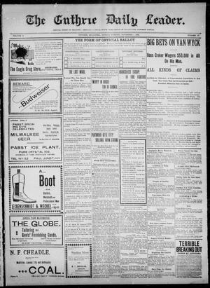 Primary view of object titled 'The Guthrie Daily Leader. (Guthrie, Okla.), Vol. 12, No. 136, Ed. 1, Monday, November 7, 1898'.