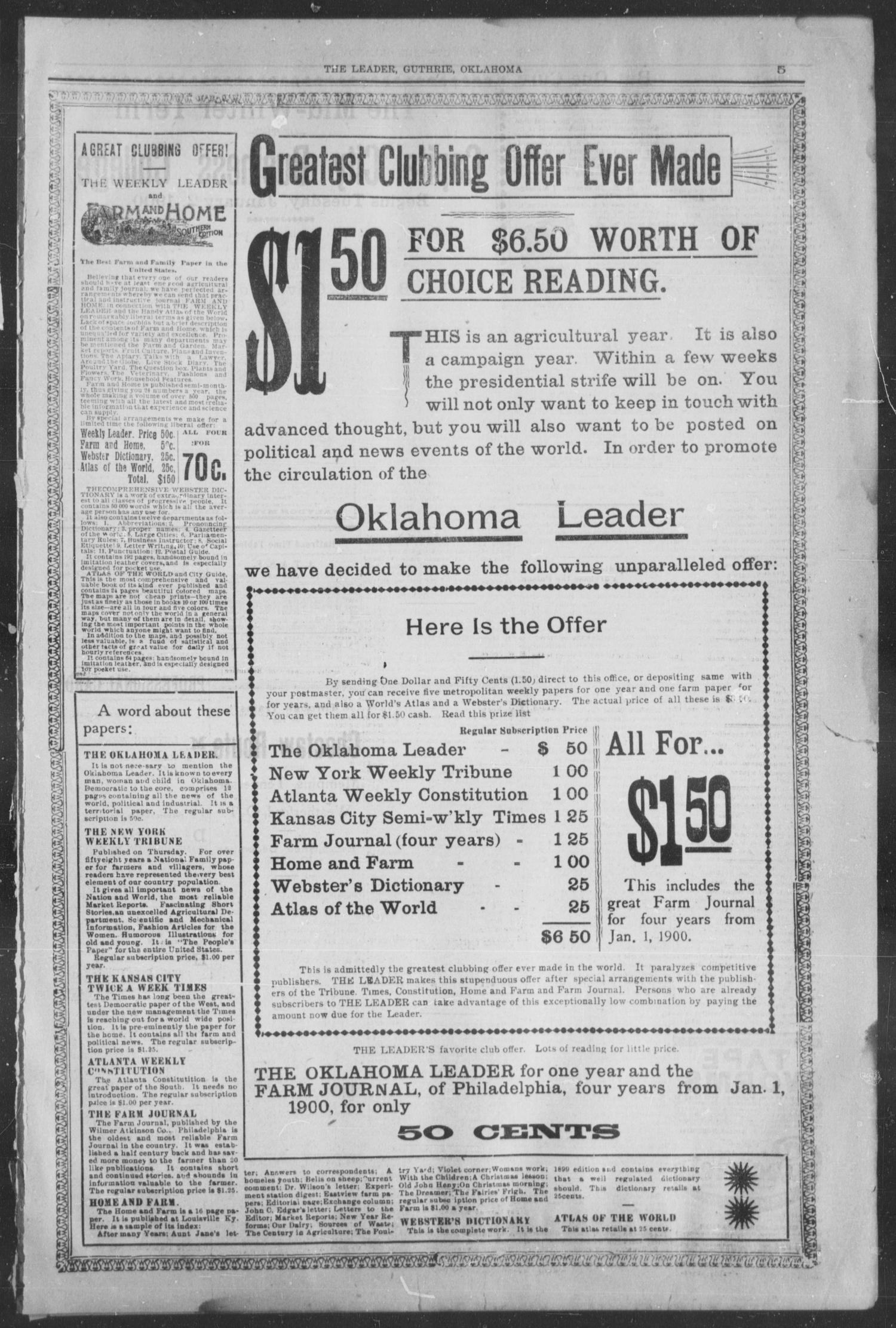 Guthrie Daily Leader. (Guthrie, Okla.), Vol. 15, No. 33, Ed. 1, Thursday, January 11, 1900                                                                                                      [Sequence #]: 3 of 6