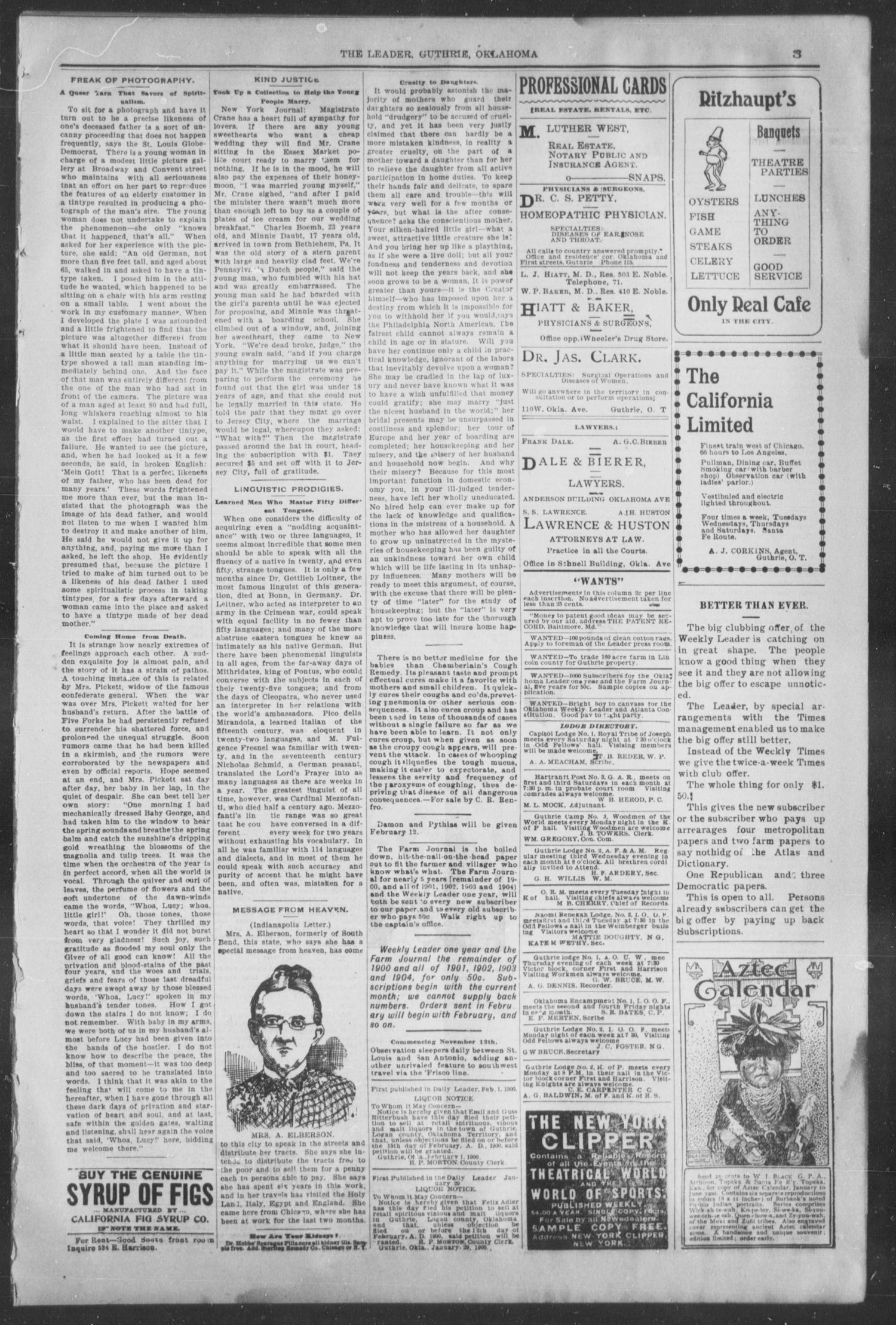 Guthrie Daily Leader. (Guthrie, Okla.), Vol. 15, No. 55, Ed. 1, Monday, February 5, 1900                                                                                                      [Sequence #]: 3 of 8