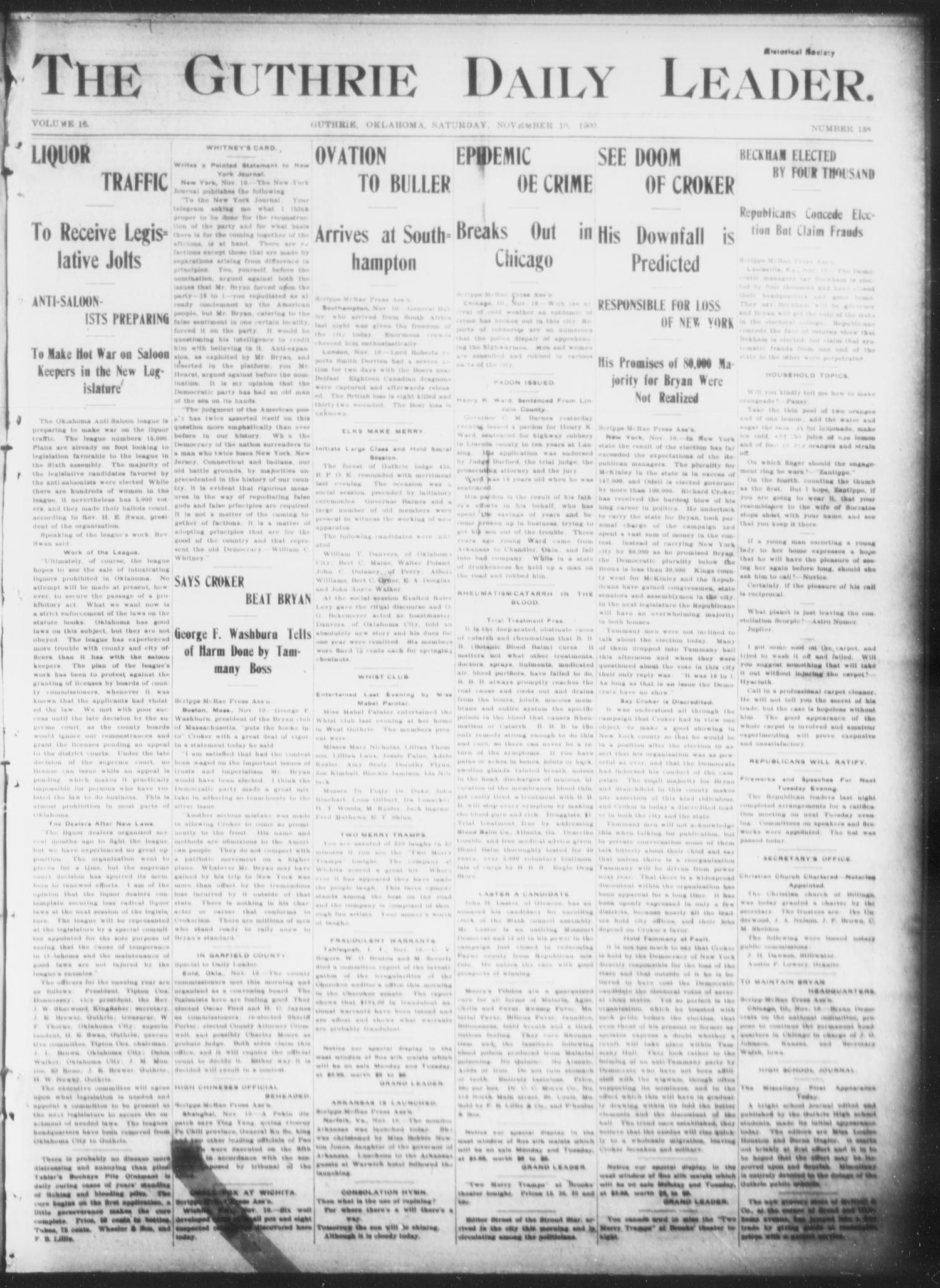 The Guthrie Daily Leader. (Guthrie, Okla.), Vol. 16, No. 138, Ed. 1, Saturday, November 10, 1900                                                                                                      [Sequence #]: 1 of 8