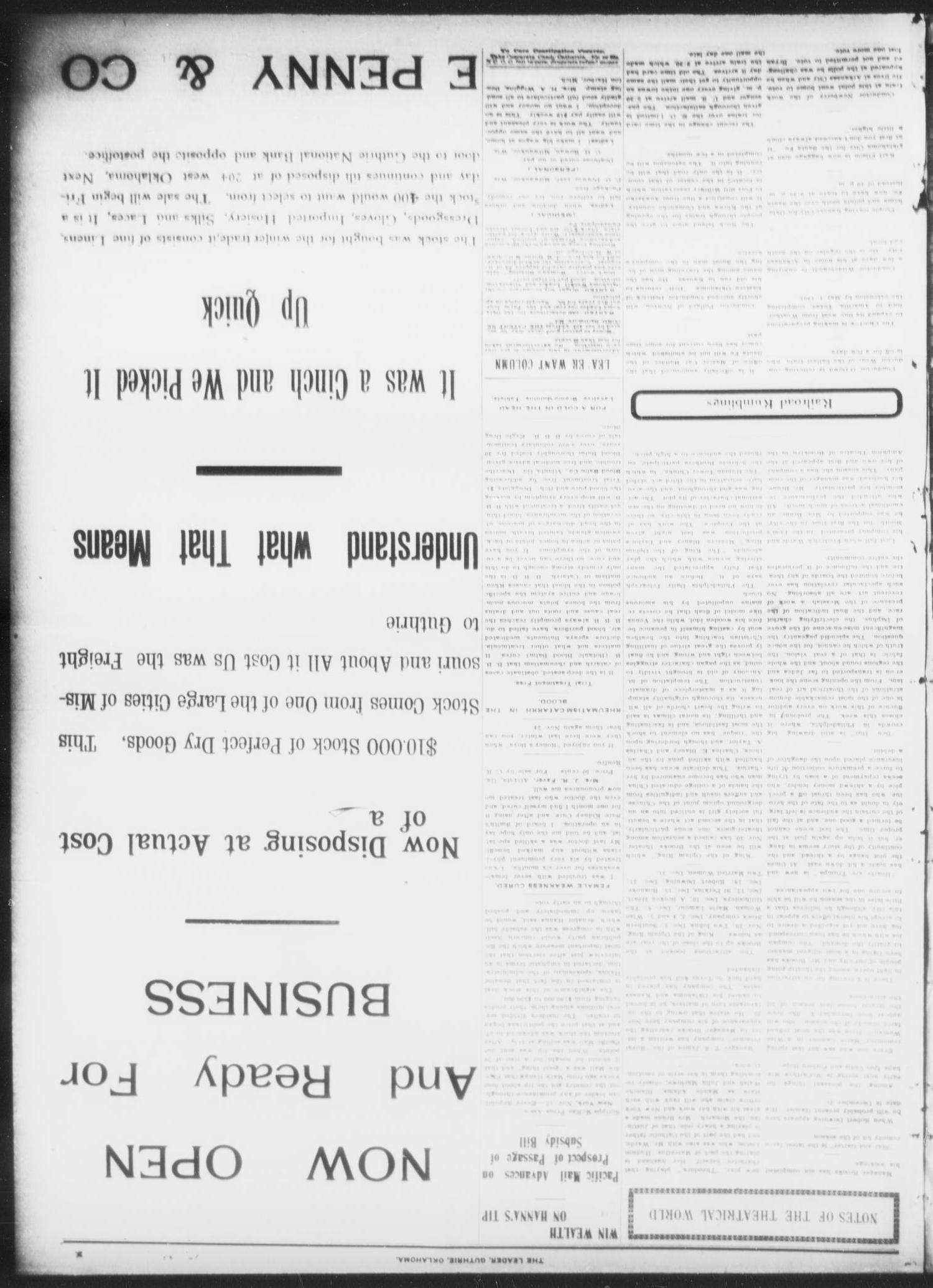 The Guthrie Daily Leader. (Guthrie, Okla.), Vol. 16, No. 144, Ed. 1, Saturday, November 17, 1900                                                                                                      [Sequence #]: 3 of 8