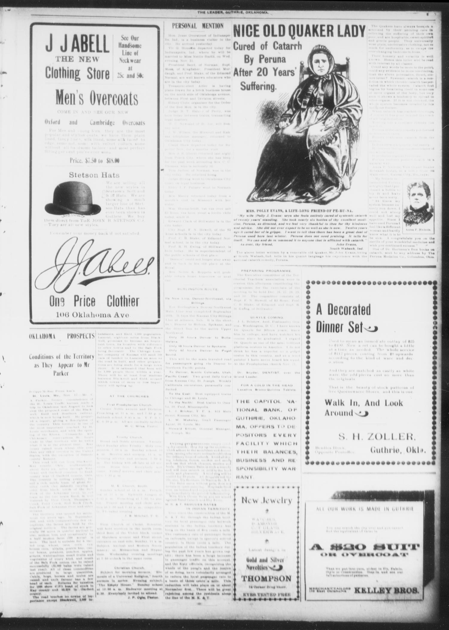 The Guthrie Daily Leader. (Guthrie, Okla.), Vol. 16, No. 144, Ed. 1, Saturday, November 17, 1900                                                                                                      [Sequence #]: 5 of 8