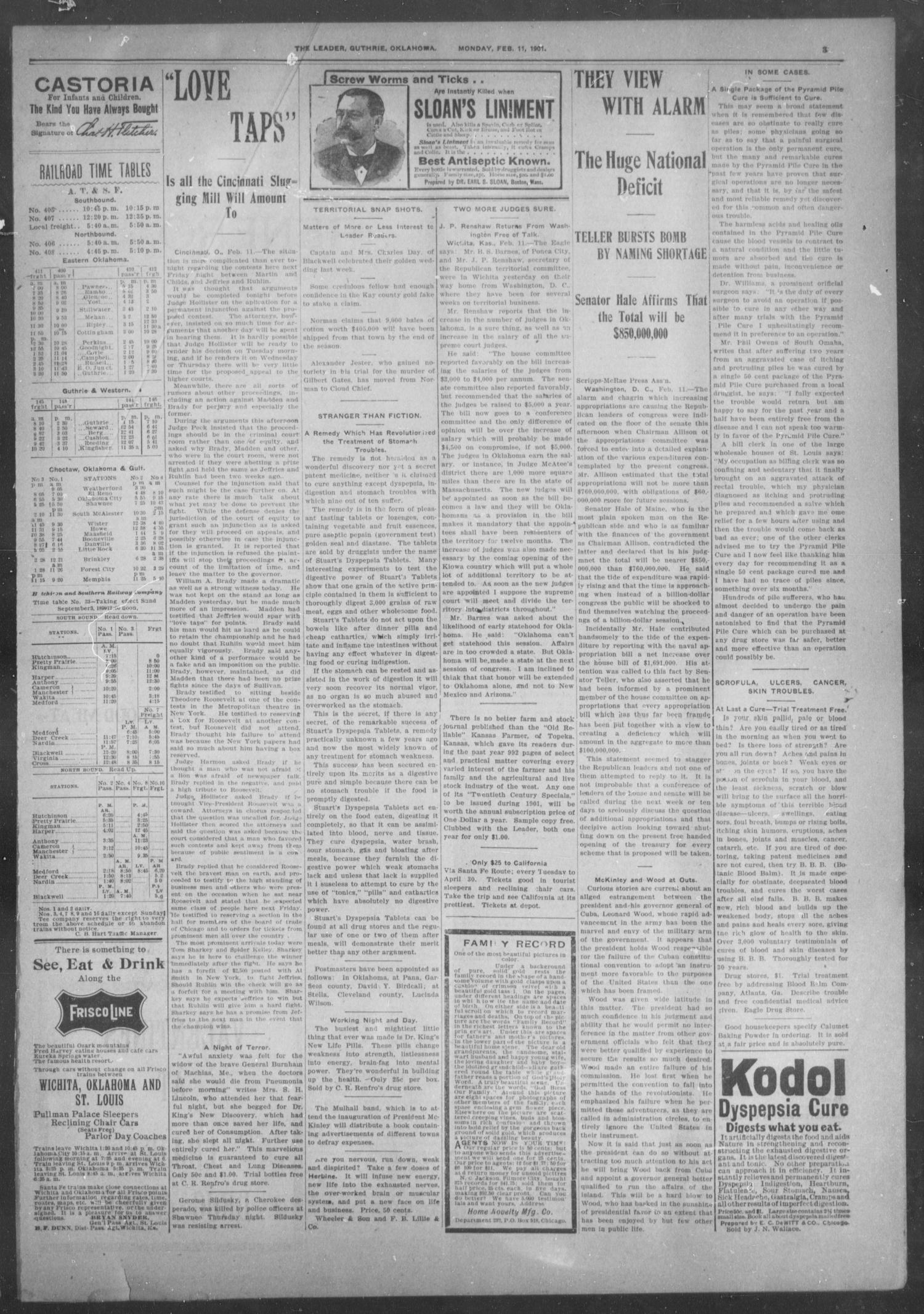 The Guthrie Daily Leader. (Guthrie, Okla.), Vol. 17, No. 64, Ed. 1, Monday, February 11, 1901                                                                                                      [Sequence #]: 3 of 8