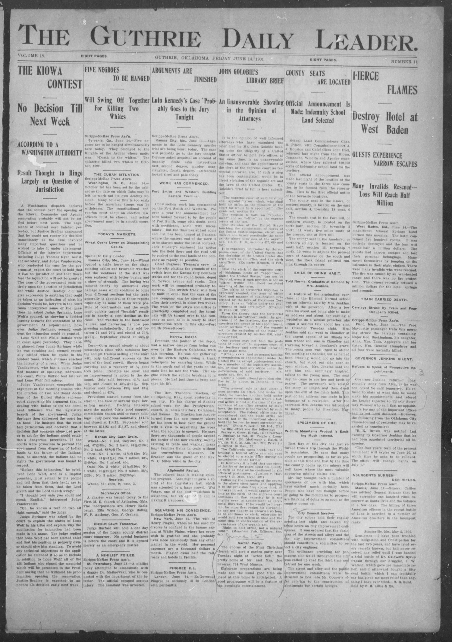 The Guthrie Daily Leader. (Guthrie, Okla.), Vol. 18, No. 11, Ed. 1, Friday, June 14, 1901                                                                                                      [Sequence #]: 1 of 8