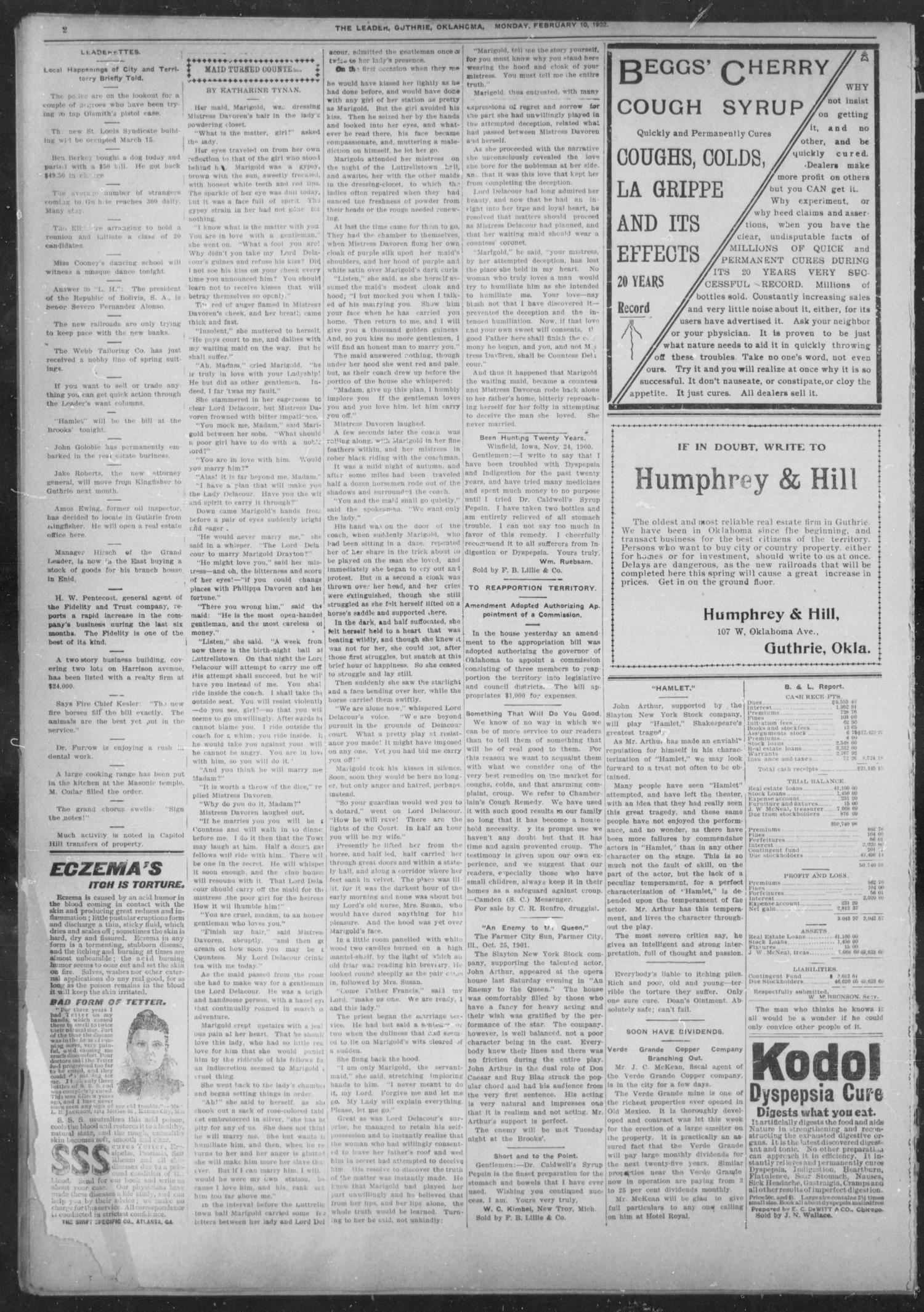 The Guthrie Daily Leader. (Guthrie, Okla.), Vol. 19, No. 67, Ed. 1, Monday, February 10, 1902                                                                                                      [Sequence #]: 2 of 8