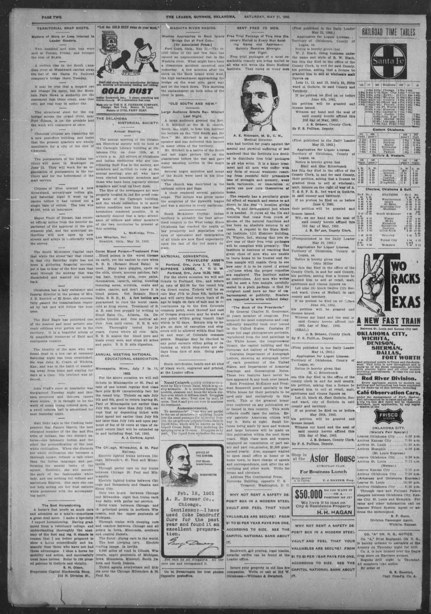 The Guthrie Daily Leader. (Guthrie, Okla.), Vol. 19, No. 153, Ed. 1, Saturday, May 31, 1902                                                                                                      [Sequence #]: 2 of 8