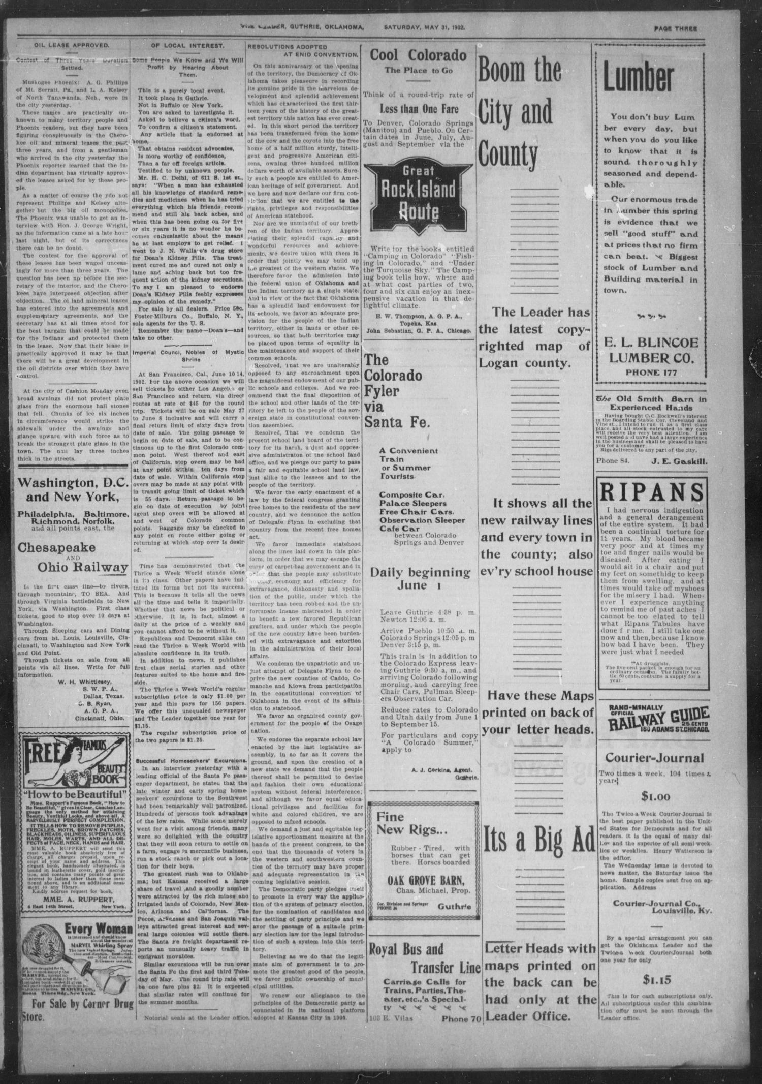 The Guthrie Daily Leader. (Guthrie, Okla.), Vol. 19, No. 153, Ed. 1, Saturday, May 31, 1902                                                                                                      [Sequence #]: 3 of 8