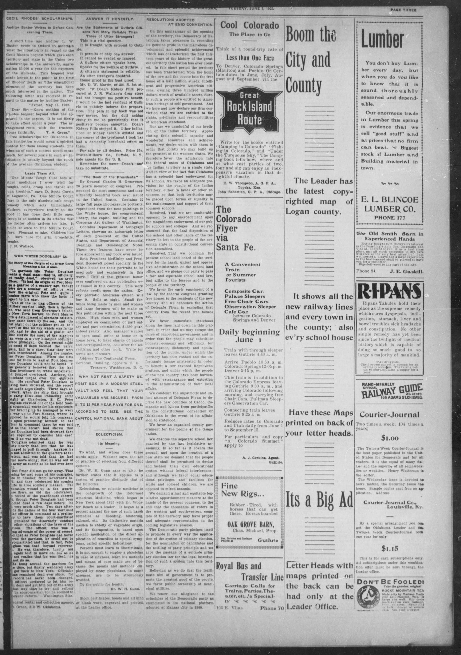 The Guthrie Daily Leader. (Guthrie, Okla.), Vol. 19, No. 15, Ed. 1, Tuesday, June 3, 1902                                                                                                      [Sequence #]: 3 of 8