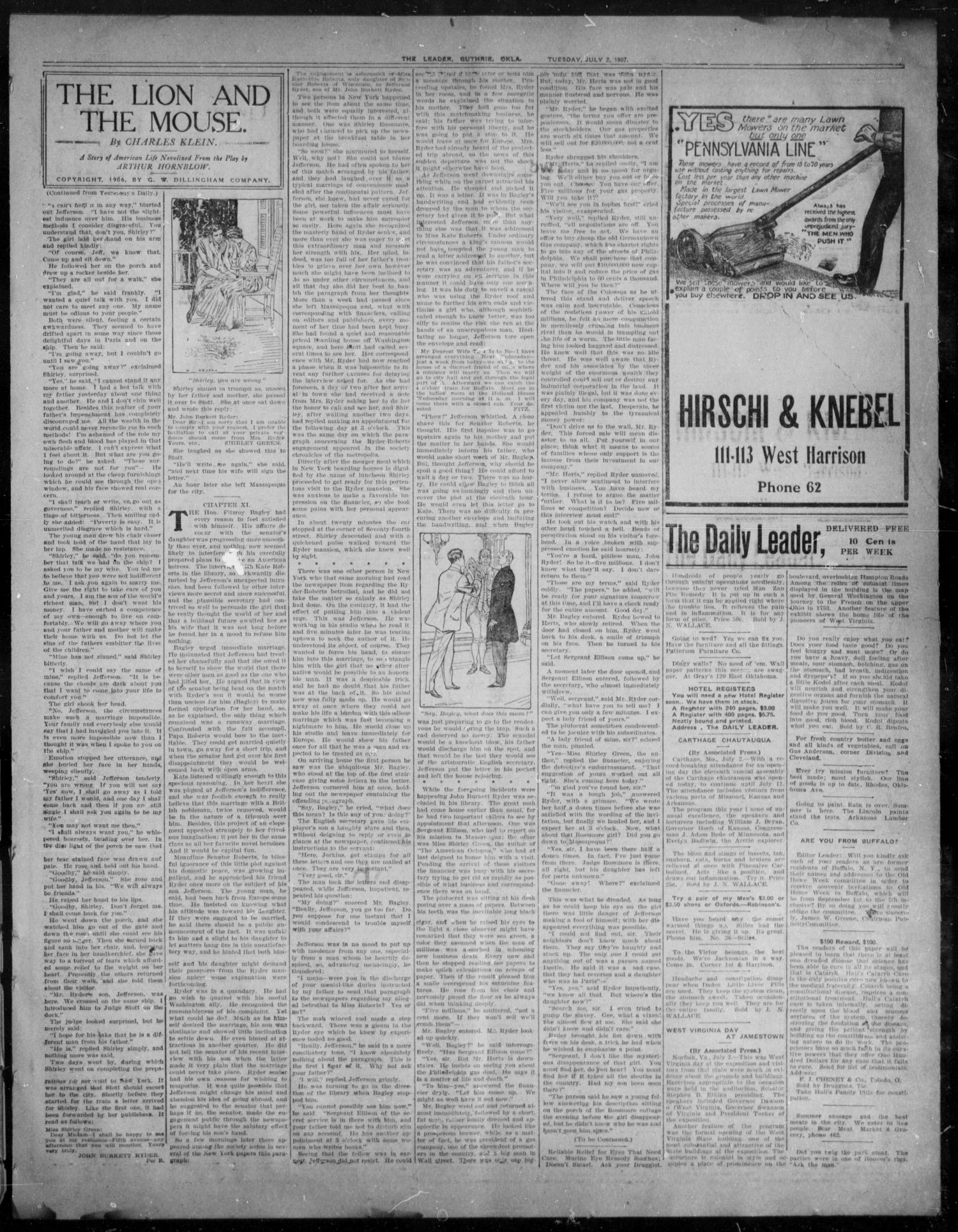 The Guthrie Daily Leader. (Guthrie, Okla.), Vol. 29, No. 52, Ed. 1, Tuesday, July 2, 1907                                                                                                      [Sequence #]: 3 of 8