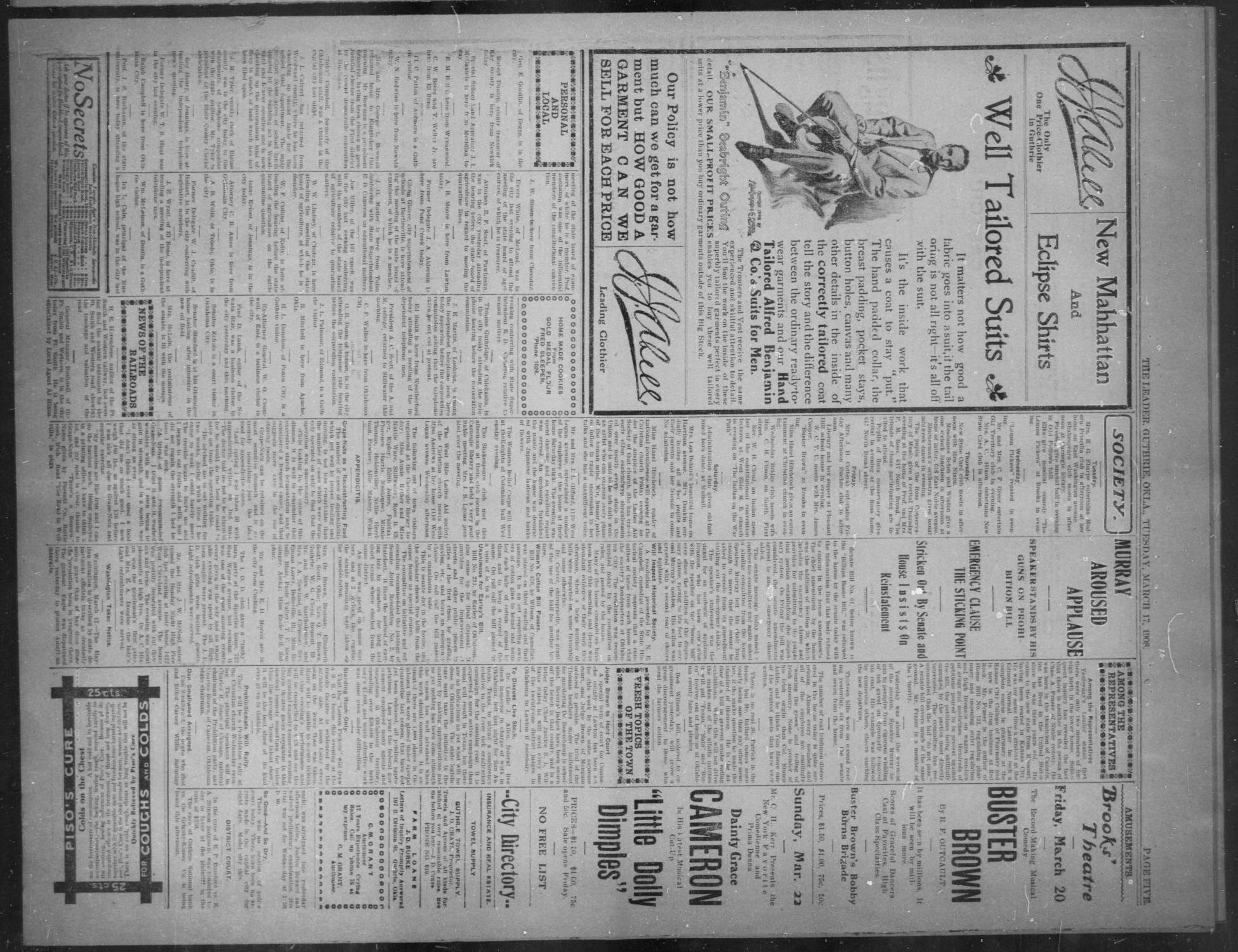 The Guthrie Daily Leader. (Guthrie, Okla.), Vol. 30, No. 107, Ed. 1, Tuesday, March 17, 1908                                                                                                      [Sequence #]: 5 of 8