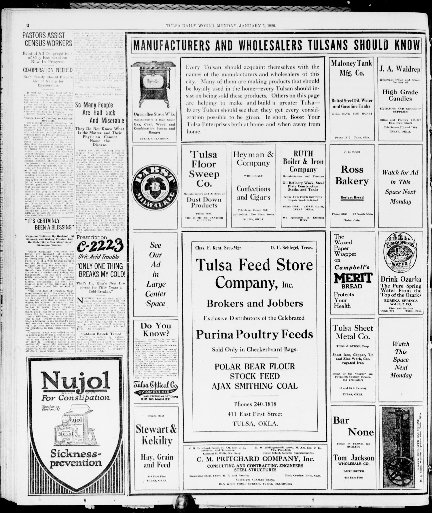 The Morning Tulsa Daily World (Tulsa, Okla.), Vol. 14, No. 99, Ed. 1, Monday, January 5, 1920                                                                                                      [Sequence #]: 2 of 10