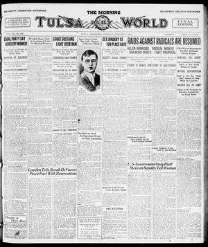Primary view of object titled 'The Morning Tulsa Daily World (Tulsa, Okla.), Vol. 14, No. 100, Ed. 1, Tuesday, January 6, 1920'.