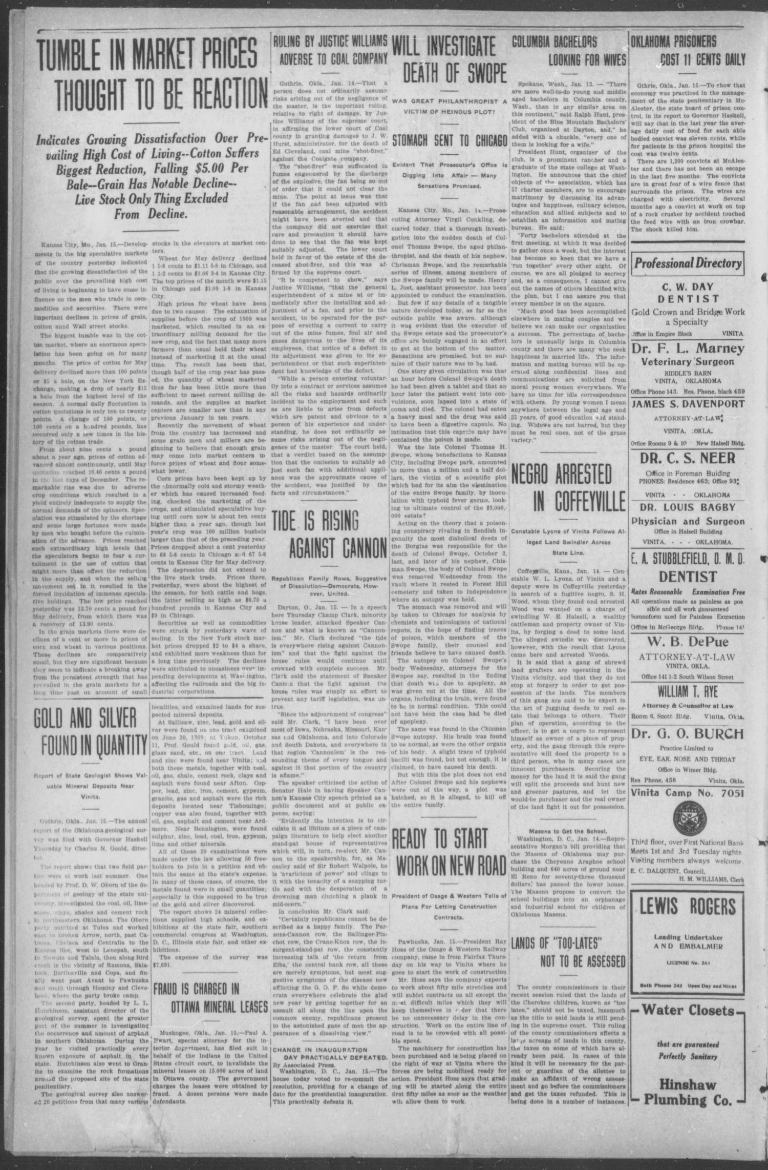 The Weekly Chieftain. (Vinita, Okla.), Vol. 27, No. 32, Ed. 1 Friday, January 21, 1910                                                                                                      [Sequence #]: 2 of 8