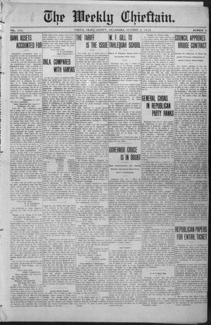 Primary view of object titled 'The Weekly Chieftain. (Vinita, Okla.), Vol. 30, No. 6, Ed. 1 Friday, October 4, 1912'.