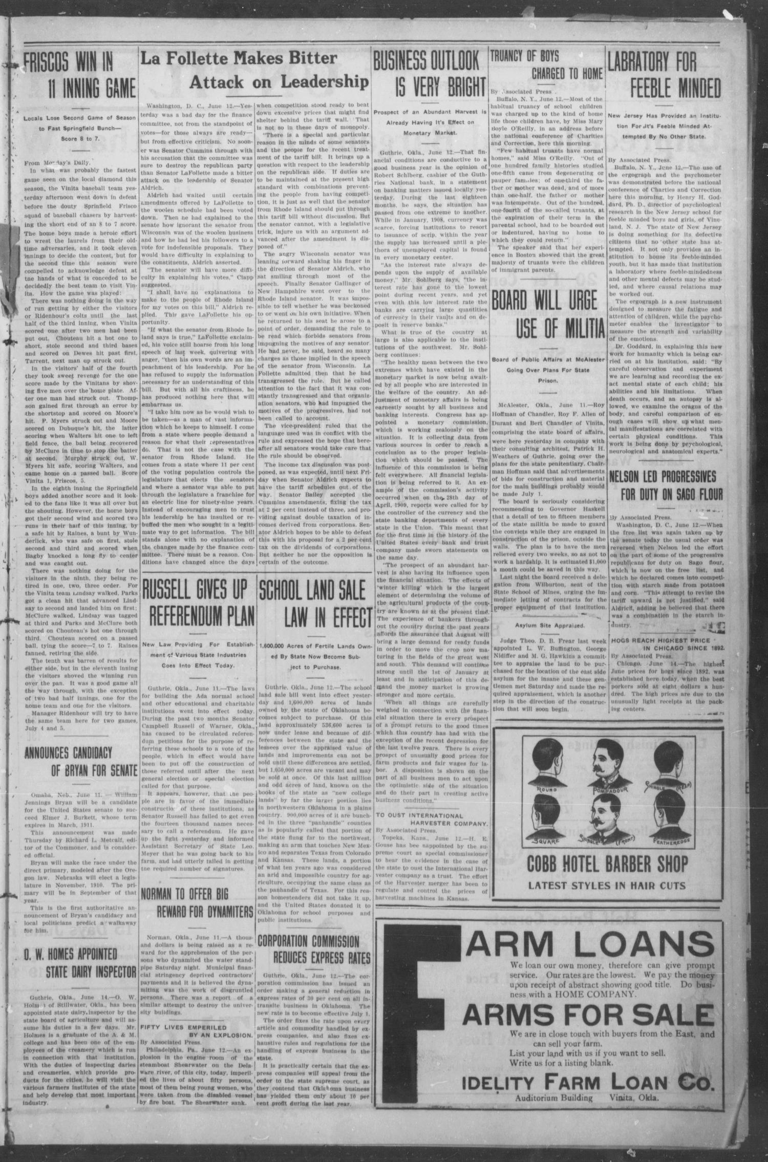 The Weekly Chieftain. (Vinita, Okla.), Vol. 27, No. 1, Ed. 1 Friday, June 18, 1909                                                                                                      [Sequence #]: 3 of 12