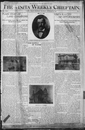 Primary view of object titled 'The Vinita Weekly Chieftain. (Vinita, Indian Terr.), Vol. 23, No. 5, Ed. 1 Thursday, September 29, 1904'.