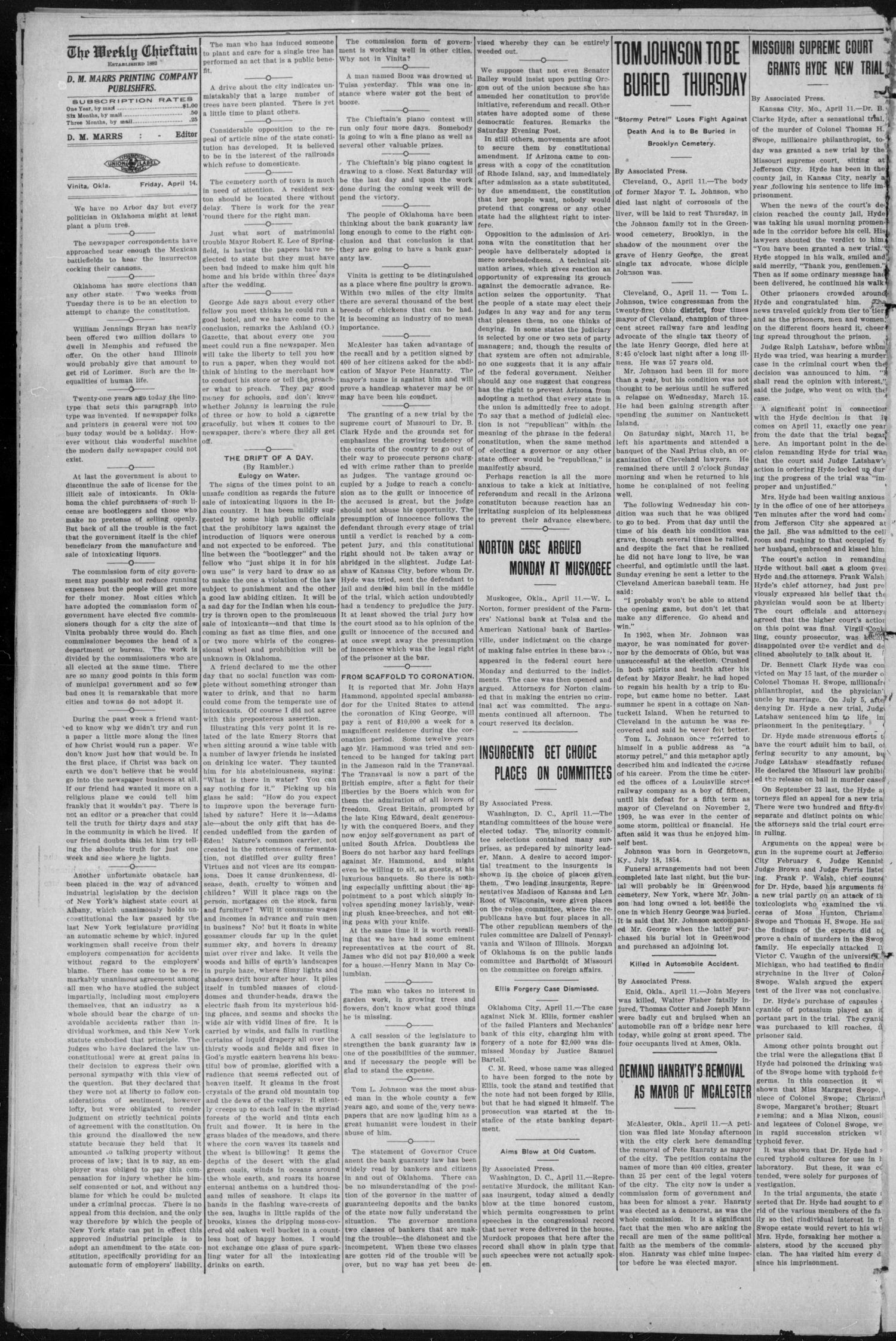 The Weekly Chieftain. (Vinita, Okla.), Vol. 28, No. 44, Ed. 1 Friday, April 14, 1911                                                                                                      [Sequence #]: 4 of 8
