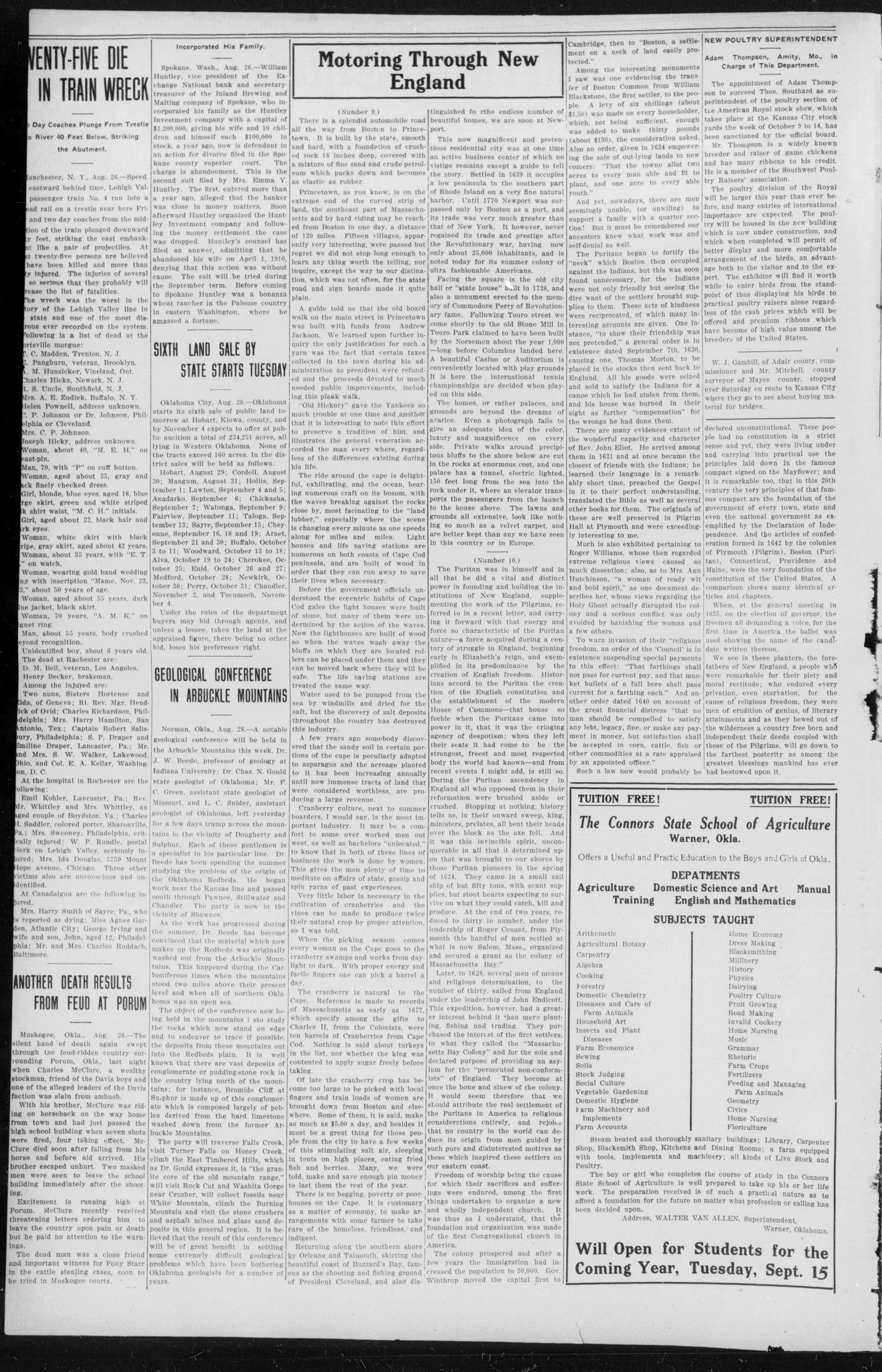 The Weekly Chieftain. (Vinita, Okla.), Vol. 29, No. 12, Ed. 1 Friday, September 1, 1911                                                                                                      [Sequence #]: 2 of 8