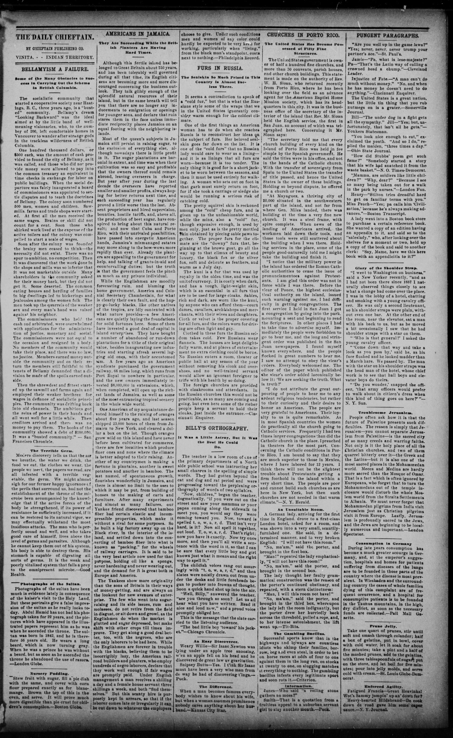 The Daily Chieftain. (Vinita, Indian Terr.), Vol. 1, No. 111, Ed. 1 Wednesday, February 8, 1899                                                                                                      [Sequence #]: 3 of 4