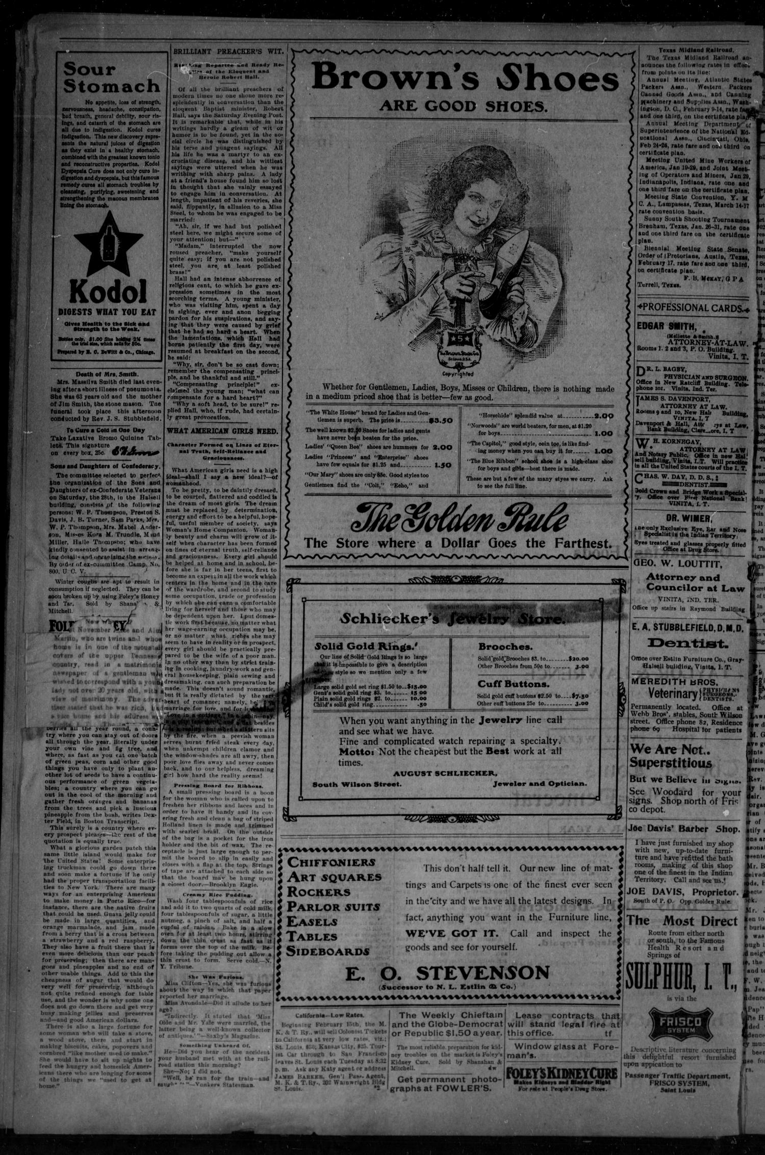 The Vinita Daily Chieftain. (Vinita, Indian Terr.), Vol. 5, No. 116, Ed. 1 Tuesday, February 24, 1903                                                                                                      [Sequence #]: 4 of 4