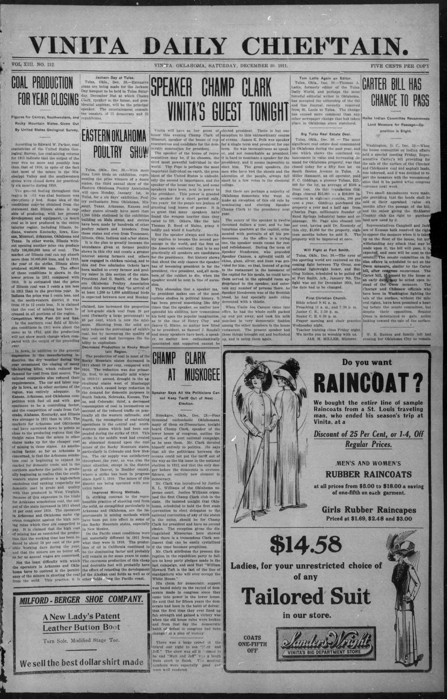 Vinita Daily Chieftain. (Vinita, Okla.), Vol. 13, No. 212, Ed. 1 Saturday, December 30, 1911                                                                                                      [Sequence #]: 1 of 4