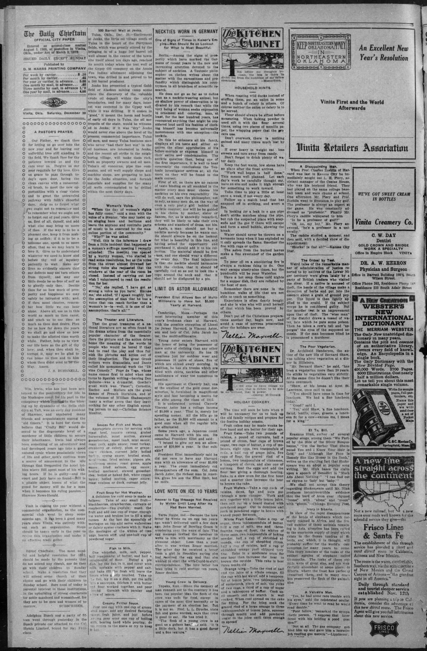 Vinita Daily Chieftain. (Vinita, Okla.), Vol. 13, No. 212, Ed. 1 Saturday, December 30, 1911                                                                                                      [Sequence #]: 2 of 4