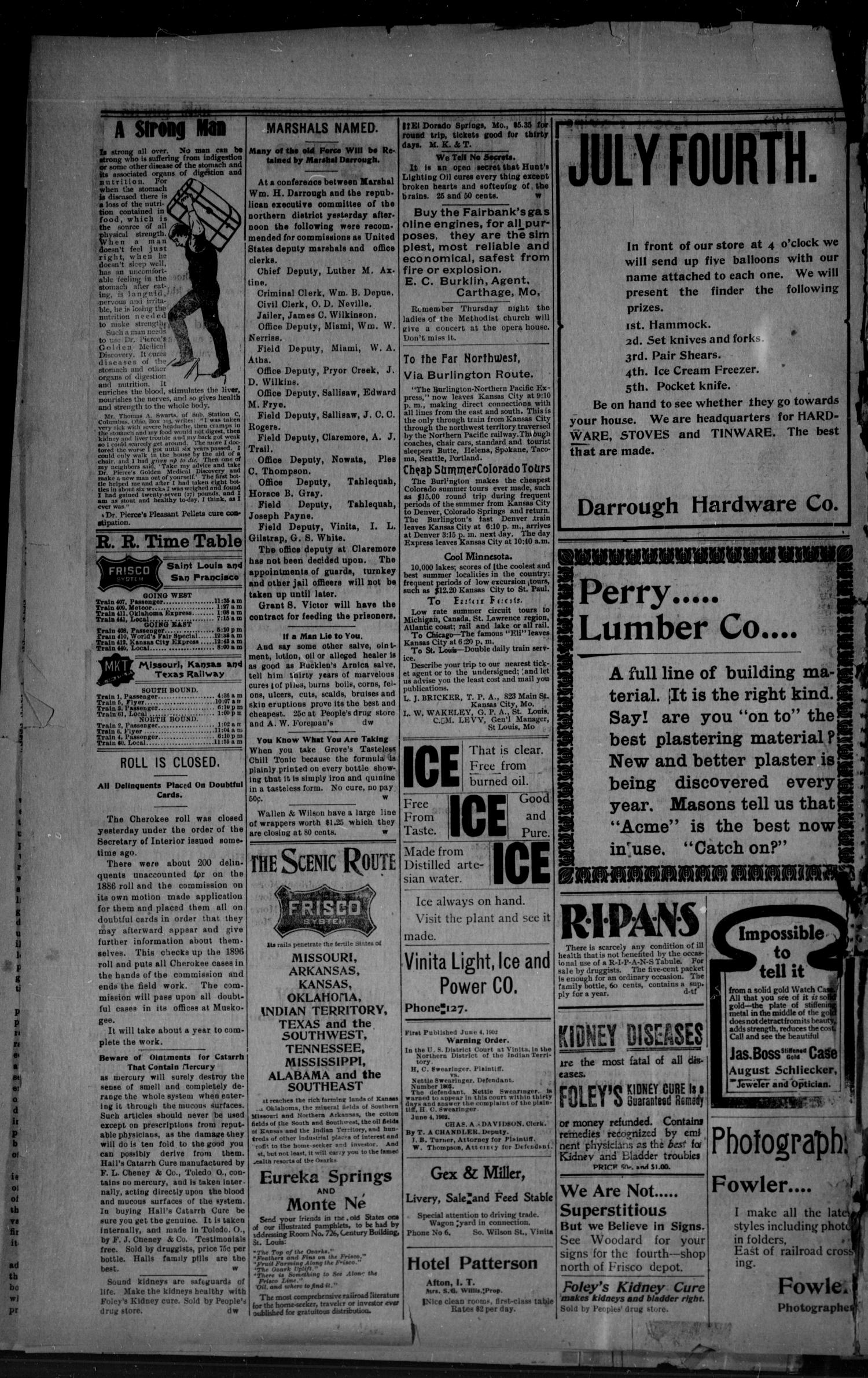 The Daily Chieftain. (Vinita, Indian Terr.), Vol. 4, No. 229, Ed. 1 Wednesday, July 2, 1902                                                                                                      [Sequence #]: 4 of 4