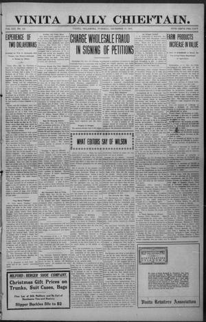 Primary view of object titled 'Vinita Daily Chieftain. (Vinita, Okla.), Vol. 13, No. 203, Ed. 1 Tuesday, December 19, 1911'.