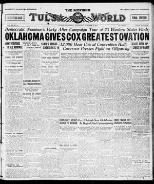 Primary view of object titled 'The Morning Tulsa Daily World (Tulsa, Okla.), Vol. 15, No. 4, Ed. 1, Saturday, October 2, 1920'.