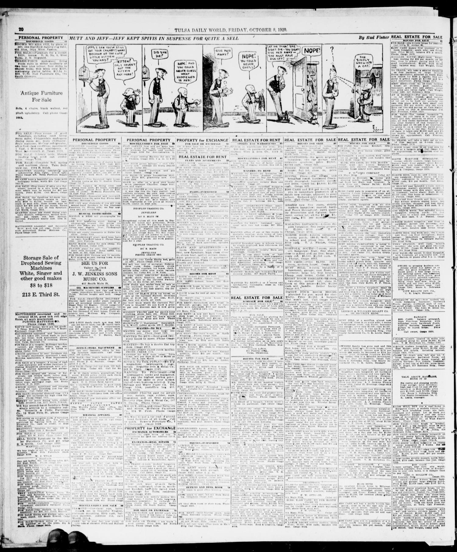 The Morning Tulsa Daily World Okla Vol 15 No 10 Ed 1 New Beat Street Esp White Kendal Friday October 8 1920 Page 20 Of 22 Gateway To Oklahoma History
