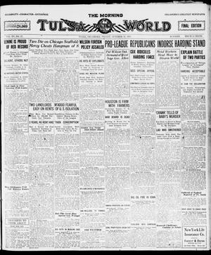 Primary view of object titled 'The Morning Tulsa Daily World (Tulsa, Okla.), Vol. 15, No. 17, Ed. 1, Friday, October 15, 1920'.