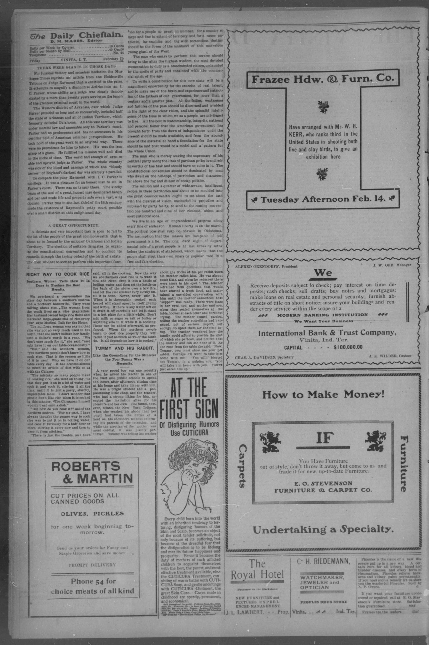 The Vinita Daily Chieftain. (Vinita, Indian Terr.), Vol. 7, No. 99, Ed. 1 Friday, February 10, 1905                                                                                                      [Sequence #]: 2 of 4
