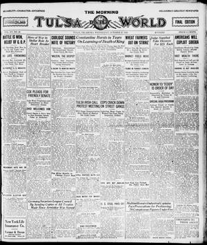 Primary view of object titled 'The Morning Tulsa Daily World (Tulsa, Okla.), Vol. 15, No. 29, Ed. 1, Wednesday, October 27, 1920'.