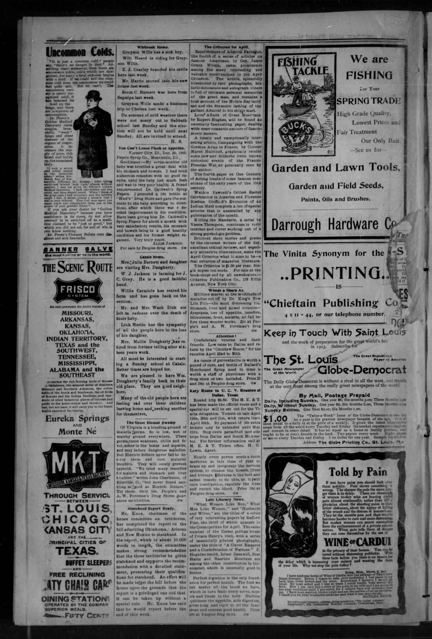 The Daily Chieftain. (Vinita, Indian Terr.), Vol. 4, No. 150, Ed. 1 Tuesday, April 1, 1902                                                                                                      [Sequence #]: 4 of 4