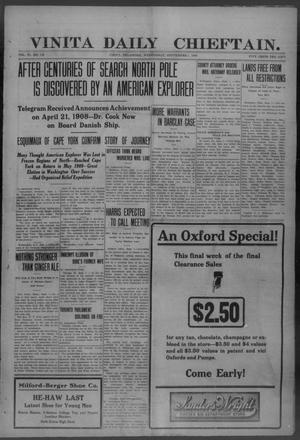 Primary view of object titled 'Vinita Daily Chieftain. (Vinita, Okla.), Vol. 11, No. 119, Ed. 1 Wednesday, September 1, 1909'.