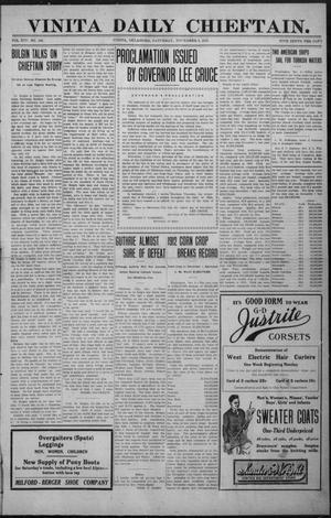 Primary view of object titled 'Vinita Daily Chieftain. (Vinita, Okla.), Vol. 14, No. 166, Ed. 1 Saturday, November 9, 1912'.