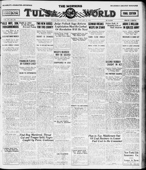 Primary view of object titled 'The Morning Tulsa Daily World (Tulsa, Okla.), Vol. 15, No. 118, Ed. 1, Wednesday, January 26, 1921'.