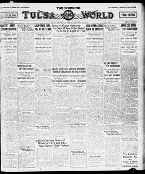 Primary view of object titled 'The Morning Tulsa Daily World (Tulsa, Okla.), Vol. 15, No. 120, Ed. 1, Friday, January 28, 1921'.