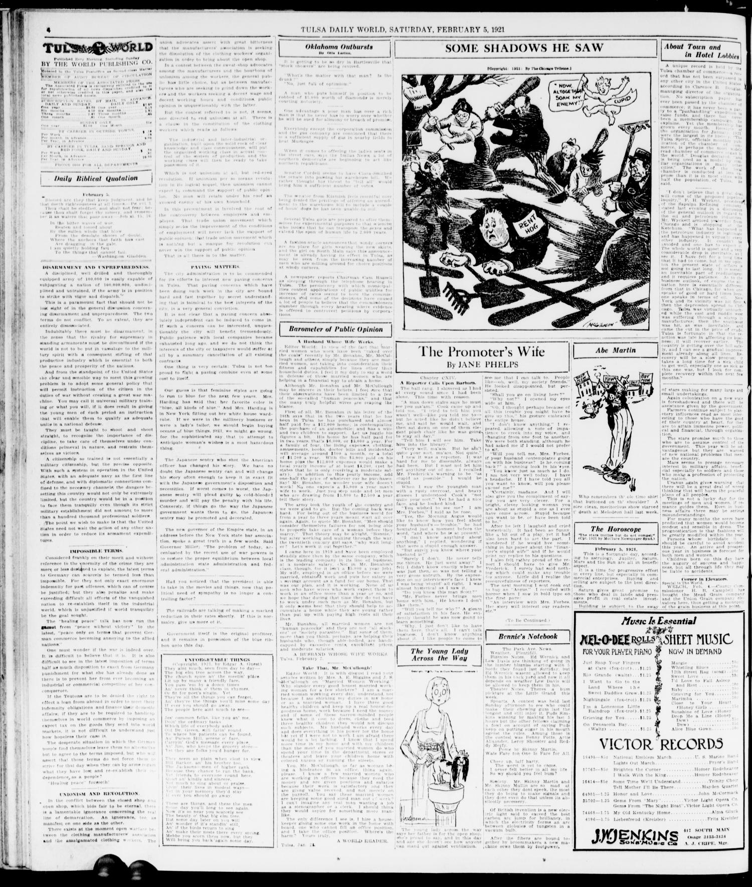 The Morning Tulsa Daily World (Tulsa, Okla.), Vol. 15, No. 128, Ed. 1, Saturday, February 5, 1921                                                                                                      [Sequence #]: 4 of 18