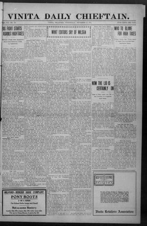 Primary view of object titled 'Vinita Daily Chieftain. (Vinita, Okla.), Vol. 13, No. 198, Ed. 1 Wednesday, December 13, 1911'.